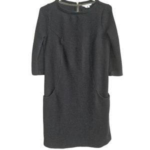 BODEN Black Ribbed Cotton Knit Long Sleeve Dress